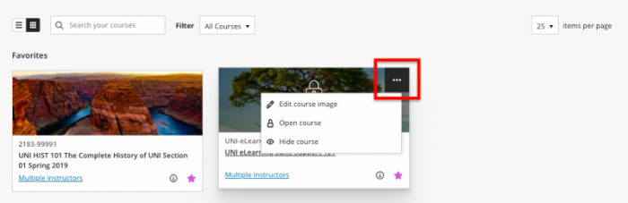 courses in Blackboard displayed in card view