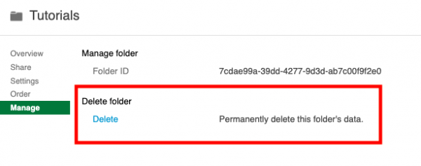 screenshot of delete folder button boxed in red