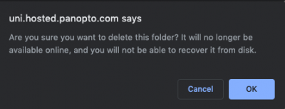 screenshot of deleting folder prompt from panopto