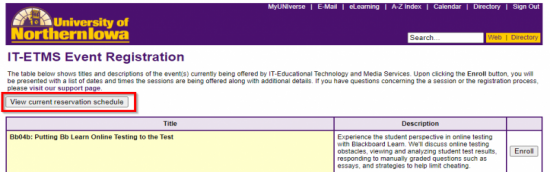 """Screenshot of IT-ETMS Event Registration page showing button to """"View current reservation schedule"""""""