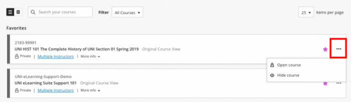 courses in Blackboard displayed in list view