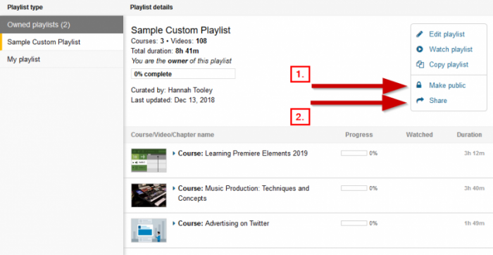 screenshot showing the make public link and the share playlist link