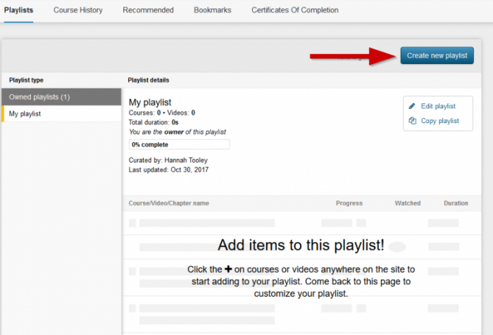 screenshot showing create new playlist button