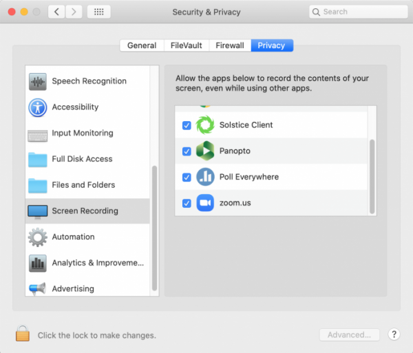 screen shot showing the MacOS Screen Sharing privacy settings
