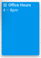 screenshot of newly created office hours appointment slot