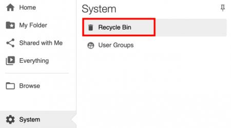 screenshot of recycle bin boxed in red