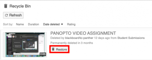 screenshot of restore button boxed in red