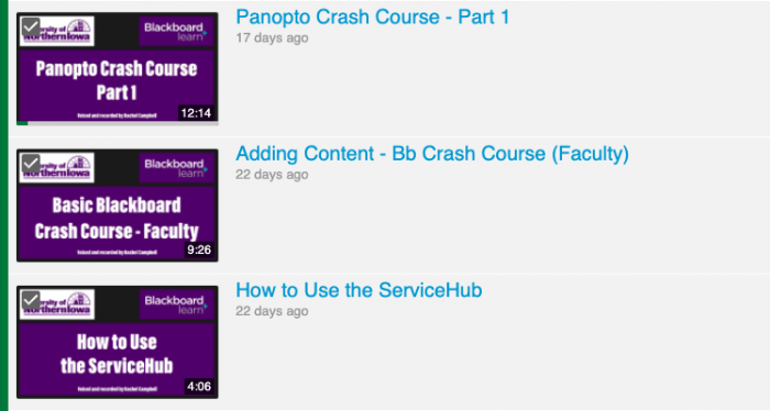 Screenshot of checking boxes on videos to select them