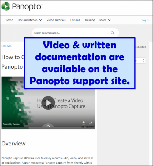 Screenshot showing Panopto Support Site