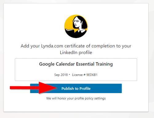 screenshot of Publish to linked in profile button