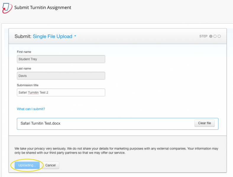 "Screenshot of known Safari and Turnitin Issue in which Turnitin gets stuck on ""Uploading..."""