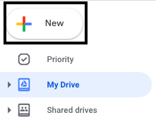 Screenshot of new button selected on google drive