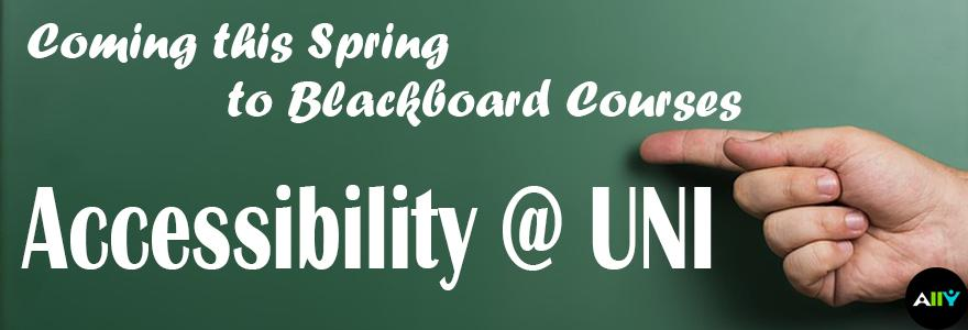 graphic showing accessibility at UNI written on a blackboard