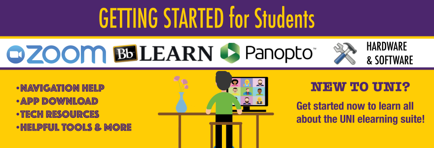 Navigation help, app download, tech resources, helpful tools & more; New to UNI? Get started to learn about the elearning suite