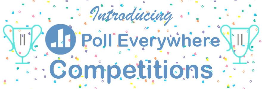 graphic of poll everywhere logo and trophies